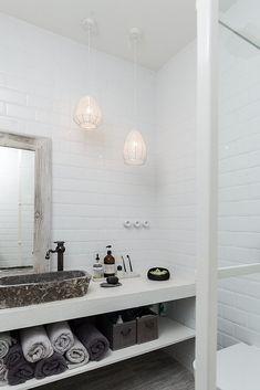 Minimalist Black And White Barn Renovation - A Interior Design Laundry In Bathroom, White Bathroom, Bathroom Interior, Modern Bathroom, Barn Bathroom, Downstairs Bathroom, Bad Inspiration, Bathroom Inspiration, Bathroom Ideas