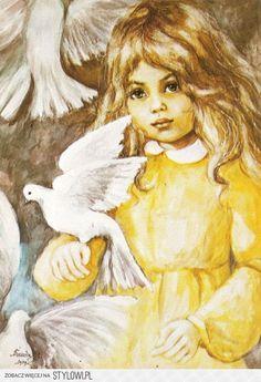 Danuta Muszynska Zamorska - Girl With Pigeons Homemade Books, Black Art Painting, Gift From Heaven, Decoupage Paper, Illustrations And Posters, S Girls, Childrens Books, Art For Kids, Disney Characters