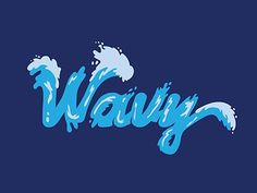 Wavy Typography designed by Lauren Dorman. Graffiti Lettering Fonts, Typography Design, Hand Lettering, Logo Design, Wave Illustration, Graphic Design Illustration, Wavy Font, Beach Logo, New York Graffiti