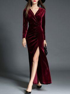Vestido maxi de terciopelo con escote V y abertura-Sheinside