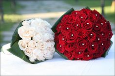 Big red bouquet for the bride