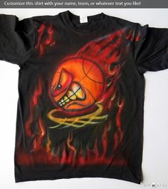 Airbrush basketball t shirt  Airbrushed hoop by Airbrushmonsters, $20.95