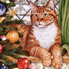 Christmas cat illustration by Debbie Cook, British Cat Christmas Cards, Christmas Kitten, Christmas Animals, Christmas Tree, Image Chat, Cat Drawing, Oeuvre D'art, Cat Art, Cats And Kittens