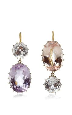 18K White Gold Pale Kunzite Earrings by Renee Lewis for Preorder on Moda Operandi