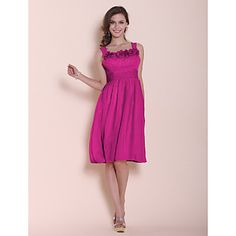 A-line Princess Straps Square Knee-length Chiffon Stretch Satin Bridesmaid/ Wedding Party Dress – EUR € 55.27