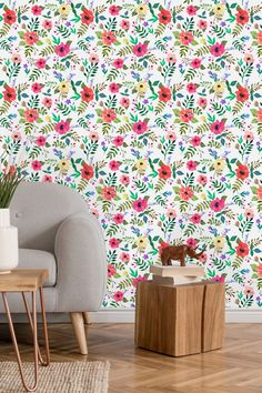 Nursery Lovely Flowers Wallpaper