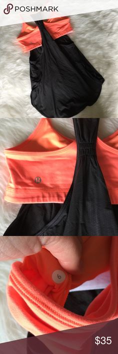 Lululemon Coral/Gray Tank This beautiful tank is in perfect condition! No bra pads. Size 6. Smoke and pet free home. No trades. Reasonable offers accepted! lululemon athletica Tops Tank Tops