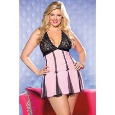 Pink Black Lace Full Skirt Sexy 2 Piece Plus Size Babydoll