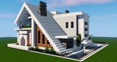 Cool modern house built by . I really want to build some houses that have the triangular shape, but honestly I'm really busy… Minecraft Modern Mansion, Minecraft House Plans, Minecraft Houses Survival, Easy Minecraft Houses, Minecraft House Tutorials, Minecraft Houses Blueprints, Minecraft Room, Minecraft House Designs, Amazing Minecraft
