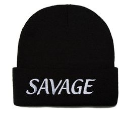 Savage Hat Beanie for Men and Women Embroidered One Size Black (27 CAD) ❤ liked on Polyvore featuring men's fashion, men's accessories, men's hats, beanie, mens beanie hats, mens knit hats and mens knit beanie hats