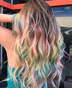 Blonde hairs with rainbow color looking beautiful in can find Rainbow hair and more on our website.Blonde hairs with rainbow color looking beautiful in 2019 Cute Hair Colors, Hair Dye Colors, Cool Hair Color, Peekaboo Hair Colors, Blonde Hair With Color, Pink Hair Streaks, Kids Hair Color, Underlights Hair, Aesthetic Hair