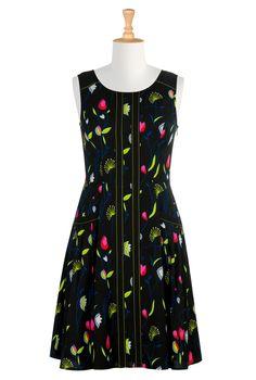 Floral Print Crepe Dresses, Vibrant Floral Spring Dresses Women's fashion dress designs - Shirtdresses: All Women's Dresses at eShakti - | eShakti