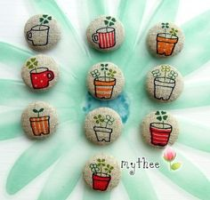 7/8 Inch Fabric Covered Buttons  Set of 10  Potted by katejdthee