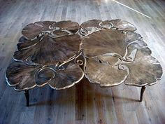 one of the many stunning sculpture/furniture pieces by french husband and wife artist francois-xavier and claude lalanne. Metal Furniture, Table Furniture, Home Furniture, Furniture Design, Art Nouveau, Pretty Things, Artwork Images, Leaf Table, Arts And Crafts Movement