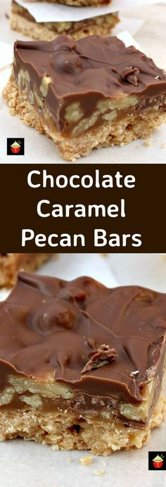 Chocolate Caramel Pecan Bars These are so addictive Easy to make and always popular Flexible so you can use your favorite chocolate like milk dark white and also use what. Candy Recipes, Sweet Recipes, Cookie Recipes, Dessert Recipes, Bar Recipes, 13 Desserts, Delicious Desserts, Yummy Food, Health Desserts