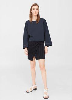 Slit cotton blouse | MANGO