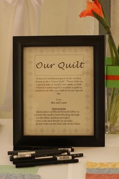 """The """"Guest Book"""" Quilt instructions for guests."""