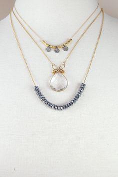 BEZEL SET CRYSTAL necklace / crystal quartz necklace