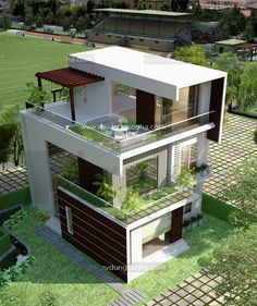 Bungalow House Design, House Front Design, Small House Design, Cool House Designs, Modern House Design, Modern House Facades, Modern House Plans, House Architecture Styles, Architectural House Plans