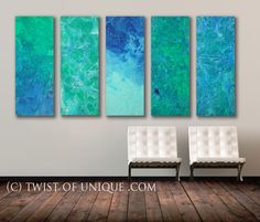 SeaGlass Abstract Painting  5 panel ORIGINAL 40 von TwistOfUnique, $853.00
