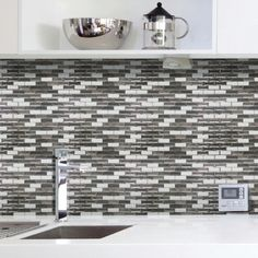 "You'll love the Mosaik Murano Metallik 10.20"" x 9.10"" Peel & Stick Subway Tile in Silver & White at Wayfair - Great Deals on all Home Improvement  products with Free Shipping on most stuff, even the big stuff."