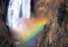 YELLOWSTONE FALLS WITH RAINBOW (APPEARS FIVE MINUTES EACH DAY) FROM CESSNA 172 AT 1000 FEET ABOVE FALLS. PRINTS AVAILABLE AT http://www.harveylloyd.com/wordpress/photography/yellowstone-devils-volcano/
