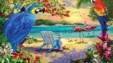 Tropical birds f beach artwork wide screen
