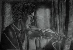 This graphik made by Virág Göbölös Sherlock Holmes, with his violin A2, pencil
