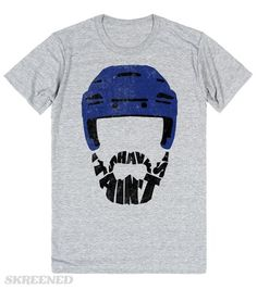 Hockey Playoff Beard T-Shirt | Shave It Ain't So!  Funny hockey play-off beard typography design, with a hockey helmet and the beard made out of the text 'Shave It Ain't So'.  #Skreened #Hockey #PlayoffBeard #HockeyTShirts