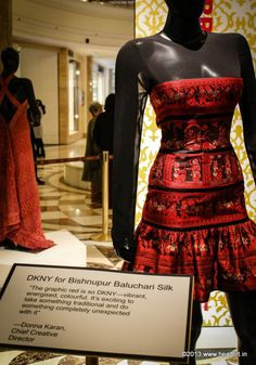 """Vogue's Project Renaissance, The Grand Revival! DKNY for Bishnupur Baluchari silk  """"The graphic red is so DKNY—vibrant, energised, colourful. It's exciting to take something traditional and do something completely unexpected with it"""" — Donna Karan, chief creative director."""