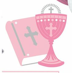 Pics Photos - First Holy Communion Room Decorating Kit Pink 10 Pieces First Communion Party, First Holy Communion, Religious Images, Baptism Invitations, Baby Scrapbook, Party Printables, Christening, Special Day, Diy And Crafts