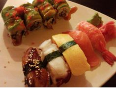 5 Piece Sushi Combo with Dragon Roll     http://www.getnmahbelly.com/2012/11/osaka-house-small-joint-big-flavor/  #sushi