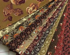 BORDEAUX & SIENNA- 11 Civil War Reproduction Quilt Fabric Fat Quarters by Paula Barnes for Marcus Brothers