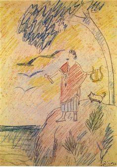 Sebastia Junyer-Vidal as rhapsode, 1903 by Pablo Picasso. Naïve Art (Primitivism). portrait