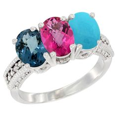 14K White Gold Natural London Blue Topaz, Pink Topaz and Turquoise Ring 3-Stone 7x5 mm Oval Diamond Accent, sizes 5 - 10 * Review more details here : Jewelry Ring Bands