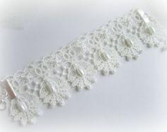 Pulseira flores renda marfim branca bracelete renda floral