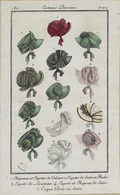 lithogragh antique costume hats Bonnets 1811. Costume parisien modes