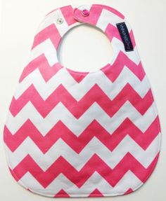 Monogrammed Baby Bib  Hot Pink Chevron Bib  by SweetSeraphina