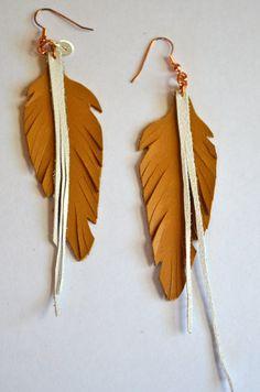 Leather feather earring by aprilzan on Etsy