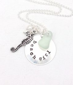 Beach Girl Necklace Sea Glass Jewelry Seahorse Pendant Hand Stamped Mixed Metals Necklace.