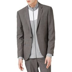 Men's Topman Textured Skinny Fit Suit Jacket ($280) ❤ liked on Polyvore featuring men's fashion, men's clothing, mid grey, men's apparel and mens clothing