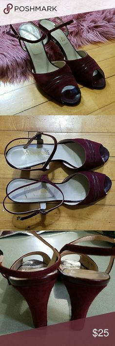 Vintage Italian leather heels Miramonte Vintage Italian leather heels, ankle straps and prep  toes. Very comfortable. Excellent vintage condition.  No size indicated.  I wear a 6.5/7 and I can wear them.  I would guess that they are a 6-6.5. Beautiful oxblood color. Vintage Shoes Heels