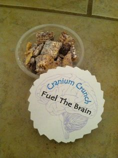 Portion cups filled with Puppy Chow = State Testing Inspiration!!  Love this slogan---Cranium Crunch---Fuel the Brain.  Definitely serving this up after math assessments :)