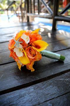 Beautiful beach wedding bridal bouquet.