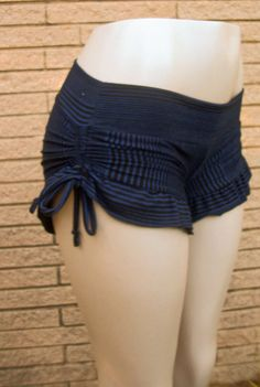 Hot pants Booty shorts boy shorts with ruffle and side gather in Blue with Black stripes