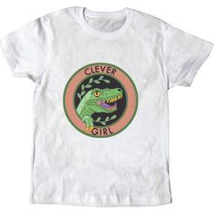 Jurassic Park inspired design onto a white crew neck T-shirt. 100% cotton. Made in Spain, printed in Galicia. Clever Girl T-shirt for Raptors and...