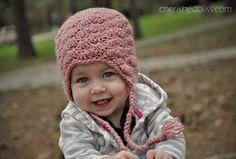 Shell stitch pattern crocheted baby hat