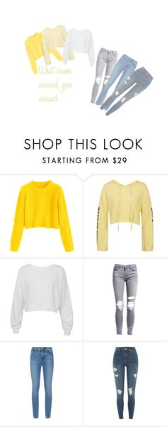 """""""YOU ARE MY SUNSHINE!! 🌞☀"""" by bangtantea ❤ liked on Polyvore featuring Sans Souci, AMIRI, Paige Denim and River Island"""