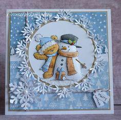 LOTV James & The Snowman card - paper-piecing - snowflake circle edge - bjl