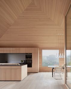 The interior floors, walls and ceilings have been clad in wooden ash boards.